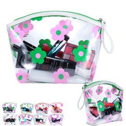 transparente make-up-tasche organizer Rabatt Aufbewahrungsbeutel Frauen Reisen PVC Kosmetiktaschen Transparente Blume Reißverschluss Wasserdichte Waschbeutel Makeup Organizer Aufbewahrungstasche WX9-415