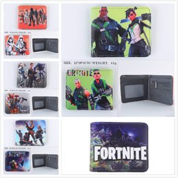 Wholesale toys for mens - Hot Game FORTNITE Cosplay Purse Wallet With Card Holder Coin Pocket Mens Designers Short Purse Cartoon Figure Toys Action Toys for Kids Gift