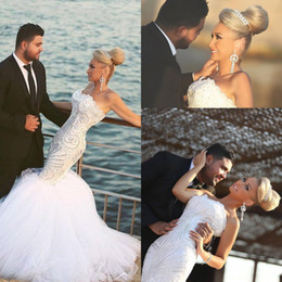 Wholesale Slim Mermaid Wedding Dresses - Sexy 2018 Arabic Mermaid Slim Wedding Dresses Sweetheart Beads Lace Applique Strapless Tulle Illusion Backless Fitted Bridal Gowns
