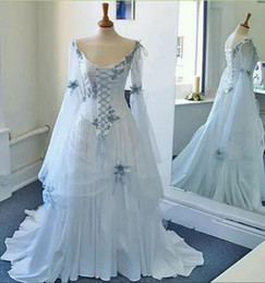 Vintage Celtic Wedding Dresses White and Pale Blue Colorful Medieval Bridal  Dress Scoop Long Bell Sleeves Appliques Flowers Wedding Gowns