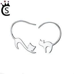 Wholesale 925 China Diamond Earrings - Authentic 925 sterling silver earrings cute animal stud fashion 2018 jewelry Imitation diamond Stud vs pandora