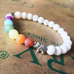 Wholesale Porcelain Gifts For Men - New Fashion National 8MM Elephant Colorful Yoga Energy Bracelet Weathered Agate Chakra Beaded Bracelets for Women and Men