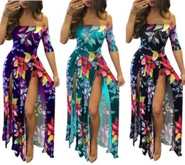 77a37cfb6565 Plus Size Women Summer Flora Printed Dress Strapless Split maxi Skirts Sexy  Tredy Night Club Casual Stretchy Girl Designer Dresses 047