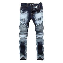 Белые сшитые джинсы онлайн-2018 new men's deep blue high street stretch jeans in slim waist straight tube zipper stitching holes sanding white trousers