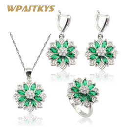 Wholesale Jade Flower Silver Necklace - whole saleWPAITKYS Flower Shape Green Crystal Silver Color Jewelry Sets For Women Earrings Necklace Pendant Ring Free Gift Box