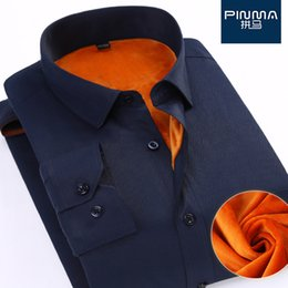 Wholesale Thicker Dress - Autumn and winter warm white shirt Slim men's velvet thicker solid color business professional dress long-sleeved shirt tooling