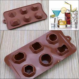 2019 gemme di cioccolato 6 Fori Diamantati Forma di gemma Ice Cube Torta al cioccolato Stampo in silicone Fodant Stampi DIY gemme di cioccolato economici