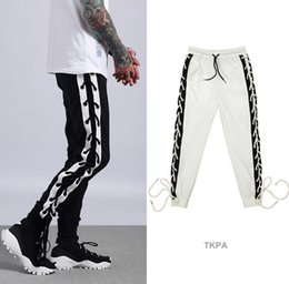 Wholesale Black Cotton Bandage Pants - TKPA Mens Jogger Sports Pants Bandage Design Hip Hop Elastic Waist Long Pants Male Casual Trousers