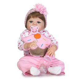 Wholesale Baby Full Month Gift - 55cm Full Body Silicone Reborn Baby Girl Doll Toys Lovely 22inch Newborn Princess Babies Fashion Birthday Gift Bathe Shower Toy