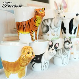 Wholesale cow paintings - Mighty Ceramic Coffee Milk Tea Mug Creative Gift 3d Animal Shape Hand Painted Deer Giraffe Cow Rabbit Dog Cat Camel Elephant Cup