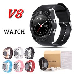 Wholesale Blue Sd Card - V8 smart watch bluetooth watches SIM Intelligent mobile phone watch 0.3M Camera MTK6261D fit with 32G sd card for samsung s9 android phone