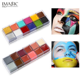Wholesale tattoo oil - IMAGIC 12 Colors Flash Tattoo Face Body Paint Oil Painting Art use in Halloween Party Fancy Dress Beauty Makeup Tool free shipping