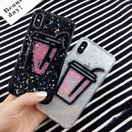 Wholesale Case Iphone Drink - Bling Epoxy 3D Drinks Cup Moving Diamond Fundas Case Soft Silicon Fundas Phone Case For iPhone X 6s 6Plus 7 7Plus 8 8Plus