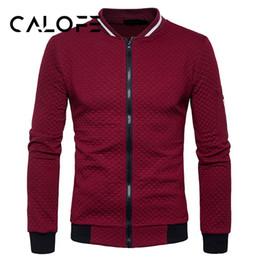 Куртки из водолазки онлайн-CALOFE 2018 Hoodies Men Solid Turtleneck Sportswear Running Coat Men'S Tracksuits 2018 Autumn  Baseball Jacket