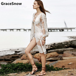 Wholesale Robes Plage - 2018 Pareo Beach Cover Up Floral Embroidery Bikini Cover Up Women Robe De Plage Cardigan Bathing Suit Ladies Ups Smock