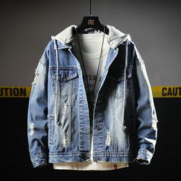 chaqueta de paño de invierno para hombre Rebajas Denim Jacket Men Clothes 2018 Otoño Invierno Casual Impreso Mens Jean Chaqueta con capucha Streetwear Jaqueta Masculina Hombres Abrigo 5XL