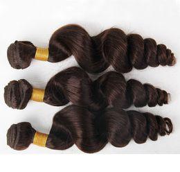 Brezilyalı Gevşek Dalga Düz Saç Örgüleri Çift Atkı 100 g / adet 2 # Koyu Kahverengi Boyalı Insan Remy Saç Uzantıları olabilir cheap human hair wefts brown nereden insan saçı atkı kahverengi tedarikçiler