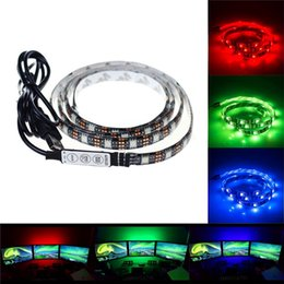 Wholesale 4m Led Strip - 5050 DC 5V RGB LED Strip Waterproof 30LED M USB Light Strips Flexible Neon Tape 2M 3M 4M 5M Remote For TV Background