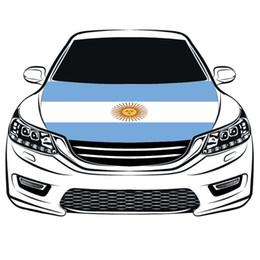 Argentina bandiere online-2018 Russia Coppa del mondo partita di calcio bandiera, Argentina bandiera Car Hood Copertura 3.3X5FT 100% poliestere, bandiera motore, tessuti elastici possono essere lavati