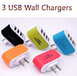 Wholesale dock adaptor - US EU Plug 3 USB Wall Chargers 5V 3.1A LED Adapter Travel Convenient Power Adaptor with triple USB Ports For Mobile Phone with Opp Pakcage