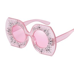 Wholesale pink rhinestone sunglasses - 2018 Rhinestone Square Frame Big Sunglasses Women Luxury Brand Black Pink Oversized Sun Glasses for Women Fashion Vintage Shades W103