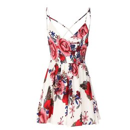 Deutschland Frauen Blumendruck Playsuit Chiffon Strap Cami V-Ausschnitt Wilde Bein Shorts Strampler Mode Sommer Strandurlaub Backless Sexy Playsuit Versorgung