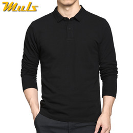 Einfaches polo online-Casual Cotton Polo Herren Langarm Simple Style Casual Herren Polo Schwarz Navy Grau Weiß M -3xl Solid