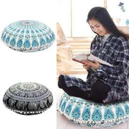 Wholesale Round Throw Pillows - Round Mandala Pillow Cover Indian Bohemian Floor Cushion Covers Sofa Throw Cushion Flower Mandala Home Decor Cushion 37 Designs YFA269