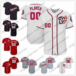 Wholesale Baseball Jerseys Washington - Custom Washington Baseball Jerseys Mens Womens Youth Kids Gray Road White Red Navy Blue Personalized Stitched Any Your Own Name Number S,4XL