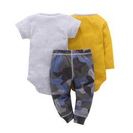 Wholesale Children Spring New Suit 3pcs - Children Brand Body Suits 3pcs Infant Body Cute Cotton Fleece Clothing Baby Boy Girl Bodysuits 2018 New Arrival Free Shippin