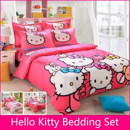 2019 edredón de marca Al por mayor-marca Logo Hello Kitty juego de cama de algodón niños sábanas Hello Kitty funda nórdica funda de almohada King / Queen / Twin 4pcs BS35 edredón de marca baratos
