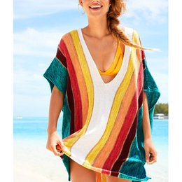 Wholesale Knit Swimsuit Cover Up - Bikini Covers-Up Beach Coat Knitted Bikini Cover Up Swimsuit Cover-Ups colorful Beachwear Sun Protection Clothes
