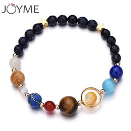 Wholesale Planet Charm Bracelet - whole saleNew Drop Shipping Stone Bracelet Universe Galaxy the Eight Planets in the Solar System Guardian Star Bracelet for Women Men Gift