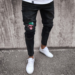 Wholesale blue skinny jeans - Men's Jeans Stretchy Ripped Skinny Biker Jeans Cartoon Pattern Destroyed Taped Slim Fit Black Denim Pants 2018 New