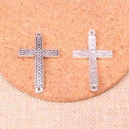 Connecteur traverse fabrication de bijoux en Ligne-26 pcs Antique argent croix connecteur Charmes pendentif Fit Bracelets Collier bricolage Metal Jewelry Making 43 * 26mm