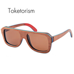 Wholesale Skateboard Wood Sunglasses - Toketorism Handmade new wooden skateboard sunglasses polarized fashion wood frame sunglasses female male 9003