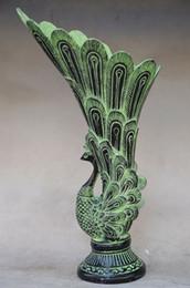 chinesisch geschnitzte vase Rabatt ORIENTAL CHINESE BRONZE HANDARBEIT GESCHNITZTE PFAU VASE