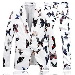 Ternos brancos elegantes da pan on-line-Queda da esquerda Ternos dos homens Queda Jaquetas e Calças S M L XL 4XL Moda Cavalheiro Elegante Casuais Homens Terno Casacos Preto Branco Escolha Blazer