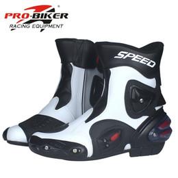 2019 botas moteras de moto PRO-BIKER marca de cuero transpirable deportes al aire libre motocicleta botas de carreras de motos off-road botas hombres / mujeres A004 botas moteras de moto baratos