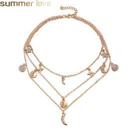 Múltiples capas de collares de cristal luna estrella colgantes collar para  mujeres elegantes mujeres al por mayor accesorios de moda joyería barato ... d3d9695b67a