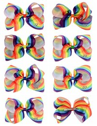 Wholesale Handmade Hair Clip Design - 14pcs 6 Inch New Design Large Rainbow Striped Grosgrain Ribbon Hair Bows With Clip For Kids Handmade Hair Accessory HD682