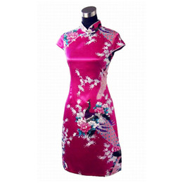 Горячие платья сексуальный китайский онлайн-Sexy Hot pink Chinese Women's Rayou peacock Cheongsam Classic Summer Mini Qipao Dress Size S M L XL XXL Mujere Vestido