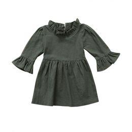 Wholesale Toddler Girls Turtlenecks - Toddler Kid Baby Girls Dress Clothes Autumn Girl Clothing Three Quarter Solid Army Green Ruffle Sleeve Turtleneck Dress