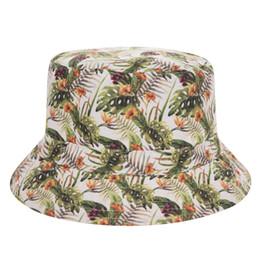 2019 estampados de flores tropicales Nuevo Sombrero de cubo plano para mujer Impreso en flor tropical Bob Playa Hip Hop sombrero pescador Panamá Girls rebajas estampados de flores tropicales
