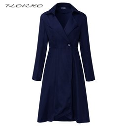 Wholesale Ladies Dress Coats - Brand Women Autumn Winter Trench Coat Dress Casual Outwear Fashion Long Sleeve Solid Wrapped Dress Office Ladies Coat Plus Size