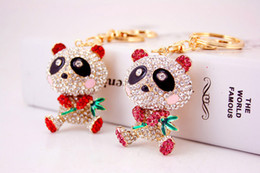 Wholesale Hold Boy - Lovely holding the bamboo panda key ring China's national treasure animals diamond-encrusted key chain New car bag accessories