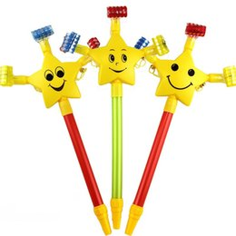 Wholesale Wholesale Plastic Poles - Plastic Whistle Blow Out Dragon Long Pole Smile Face Five Pointed Star Funny Toy For Birthday Party Supplies 1 33hb B