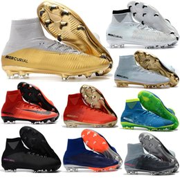 Wholesale Original Leather Soccer Boots - 2017 mens Original magista obra soccer cleats hypervenom phantom jr soccer shoes mercurial superfly football boots cr7 ACC Kids soccer gold