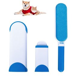 Wholesale Carpet Brush Cleaner - Pet fur remover with self-cleaning base double sides pet brush dog cat fur remover from clothes sofa fabric home cleaner brush reuseable