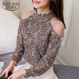 Wholesale Patchwork Blouses - 2018 new women tops long sleeved blouses lace patchwork sexy style female shirts fashion women clothing lace blouses D431 30